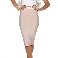 Elegant Crop Tops And Solid Pencil Skirt Set