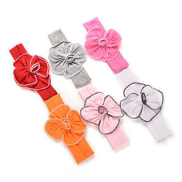 1 Pcs Lovely Unusal Cotton Flower Hairband Girls Baby Headband 6 Colors 3C