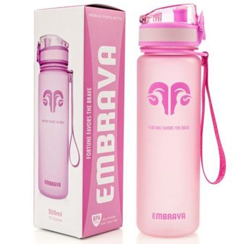 Best Sports Water Bottle - 18oz Small - Eco Friendly & BPA-Free Plastic - Fast Water Flow, Flip Top Lid, Opens With 1-Click color (pink)