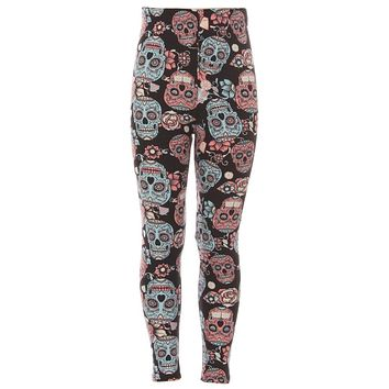 Kid's Black Sugar Skull Pattern Printed Leggings