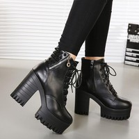 New brand spring and autumn women boots platform high-heeled thick heel lacing casual shoes with zipper good quality