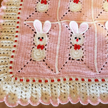 Crochet Pink Baby Blanket with bunny, rabbits for little girl / Easter Bunny. Custom order avalable