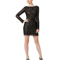 Adrianna Papell Diamond-Beaded Dress - Black/Nude
