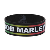 Bob Marley Rasta Rubber Bracelet | Hot Topic