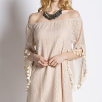 Kori America bell sleeves tassel trim Tan off shoulder lace dress