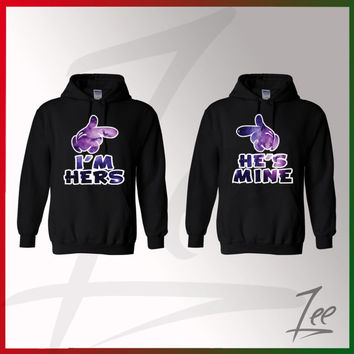 "Couple hoodies"" I'm hers - He's Mine"" ,I'm hers Galaxy,he's mine galaxy,valentines day,couple matching Hoodies love,S-2X"