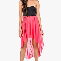 Elastic Back Hi Lo Dress With Chain Belt