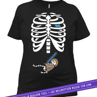 Pregnant Skeleton Shirt Pregnancy Halloween Costume Maternity T Shirt Baby Shower Gifts For Expecting Mothers Mom To Be Ladies Tee MAT-53