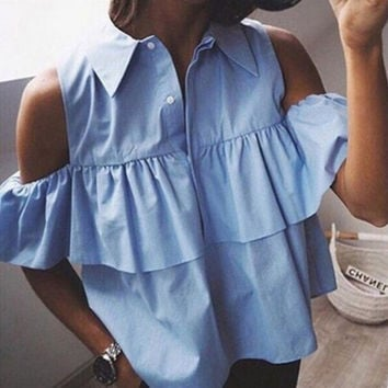 2017 Summer Sexy Off Shoulder Ruffles Turn-down Collar Women Blouse Short Shirts Ladies Crop Tops Blusas Femininas Blue White
