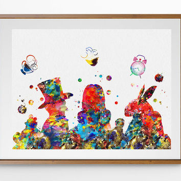 Alice in Wonderland Watercolor print, Mad Hatter Tea Party Poster, Nursery Art For Kids, Wedding gift Wall Hanging