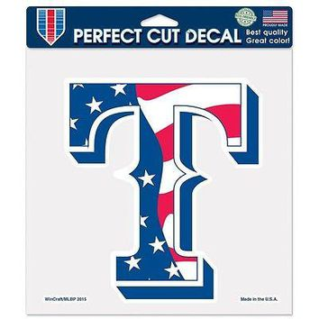 "TEXAS RANGERS STARS & STRIPES JULY 4 8""X8"" DIE CUT DECAL BRAND NEW WINCRAFT"
