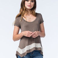 Honey Punch Lace Inset Sharkbite Womens Tee Olive  In Sizes