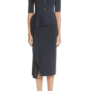 Jason Wu Asymmetrical Ruffle Waist Crepe Sheath Dress | Nordstrom