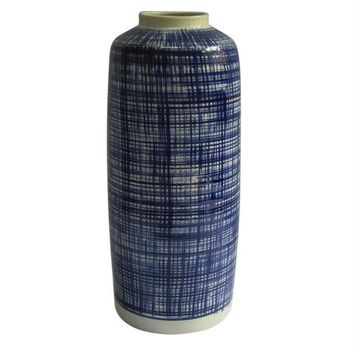 Adorning Ceramic Vase with Abstract Stripes, White And Blue -SageBrook Home