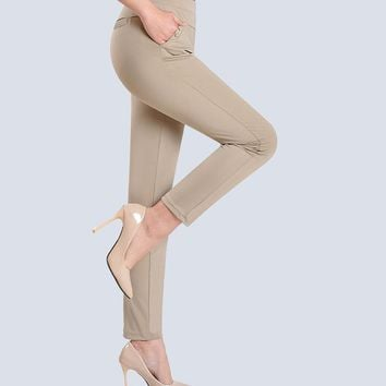 Woman Summer Plus Size Casual Mid Elastic Waist Solid Pencil Pants Female Thin Stretch Ankle-length Trousers Lady Pencil Pant
