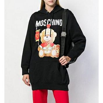 MOSCHINO Hot Sale Trending Women Popular Cute Bear Print Hooded Sweater Sweatshirt Black