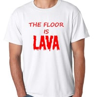 Men's T Shirt The Floor Is Lava Game Red Popular Funny Gym Tee