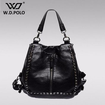 WDPOLO Women's Leather Stud and lock backpack high chic duke lady shoulder bag modern girls school bag casual soft wear M2197