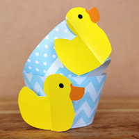 Pastel Blue Rubber Duck 3D Cupcake Wrappers - DIY printable party supplies – duckie wraps for baby showers or birthdays - INSTANT DOWNLOAD
