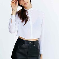 Cooperative Skinny Tie Neck Blouse- White