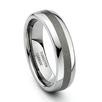 6mm Rounded Edge Tungsten Wedding Band (Platinum)