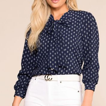 Astrid Navy Patterned Top