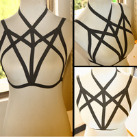 Free Shipping Sexy women new fashion black body harness body cage influx of peopl Harajuku Gothic cage bra Sexy lingerie