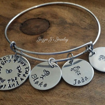 I Love You A Bushel And A Peck Family Bangle Bracelet, Family Name Bracelet, Personalized Family Bracelet, Stick Family Bangle, Gift for Mom