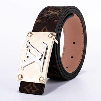 Louis Vuitton LV Fashion New Monogram Check Leather Women Men Leisure Belt Coffee