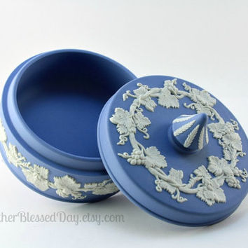 Vintage Wedgwood Blue Jasperware Grapevine Covered Candy Dish with Finial/Dresser Box/Trinket Box/Jewelry Box