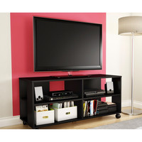 Black TVstand Storage Cart in Black Finish - Holds TV Up To 48-Inch