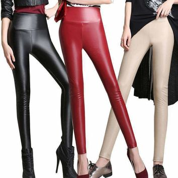 Womens PU Leather Pencil Pants