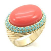 Genuine Coral & Turquoise Stone Cocktail Ring â?? Modeets