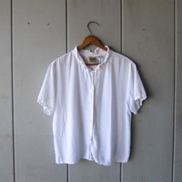 90s White Crop Top Button Up Rayon Blouse Short Sleeve Cropped Shirt Minimal Preppy Boho Tee Seashell Buttons Womens Medium