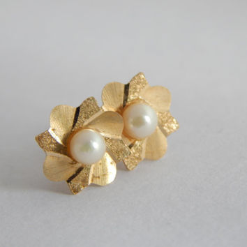 Fine 9ct Gold Cultured Pearl Flower Earrings with full 1984 Hallmark - Yellow Gold Earrings - Cultured Pearl Earrings - Vintage 9ct Gold