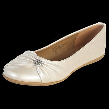 Ivory Dress Shoes Flats with a Rhinestone Heart & Faux Bow (Toddler & Girls Sizes)