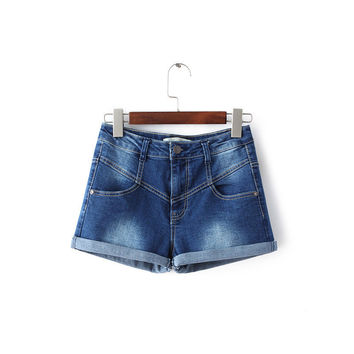 Summer Rinsed Denim Stretch Slim Denim Shorts [8173401735]
