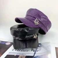 """""""Dior"""" All-match Fashion Diamond Letter Leather Peaked Cap Flat Top Hat Sun Hat"""
