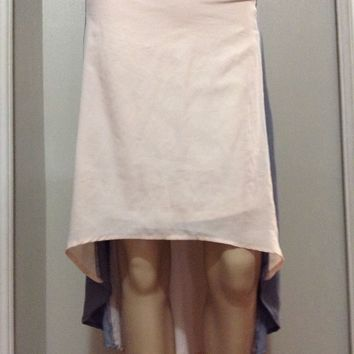 FOREVER 21 Asymmetrical Skirt Pink Grey High Low Chiffon Lined Feminine flowy M