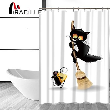 Miracille Black Cat Cartoon 3D Shower Curtain Waterproof Polyester Fabric With 12 Hooks