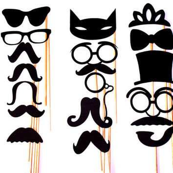 DIY- YOU glue 17 PC Mustache Moustache Gender Reveal Little Man Bash Photo Prop Photobooth Photo Booth Props Made to Order