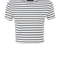 White Ribbed Stripe T-Shirt