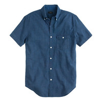J.Crew Mens Tall Secret Wash Short-Sleeve Shirt In Indigo