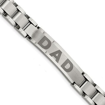 Stainless Steel Brushed & Polished Dad Bracelet 8.75in