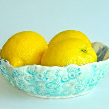 Organic Ceramic Serving Bowl with aqua crackle glaze by Clayshapes