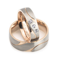 Dragon wave cut rose gold plated titanium wedding rings set