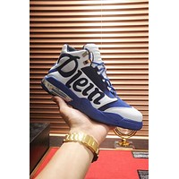 """Philipp Plein""High Quality Popular Men Casual Leather High Top Running Sport Shoes Basketball Sneakers White/Blue"
