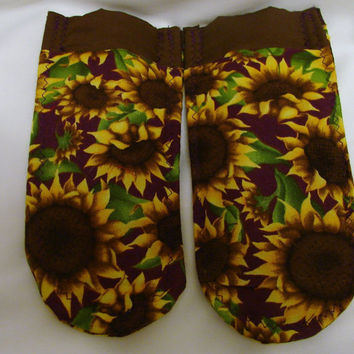 Pot Holder Handles Sunflowers with Purple Accent  by bagsbyhags45