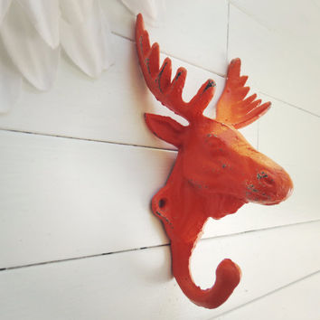Stocking Hook / Stocking Holder / Moose Head Hook / Wall Hook / Cabin Decorations / Orange Decor / Moose Decor / Antler Decor / Fall Trends