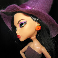 """Halloween Doll Jewelry doll earrings handmade polymer clay with rhinestones """"Little Pumpkin"""" fits Monster high doll, Ever after high doll"""